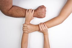Hands united. Group of hands, family love, help, charity Stock Photography