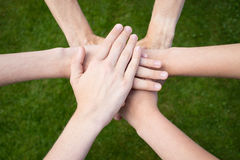 Hands uniting. With grass background stock images