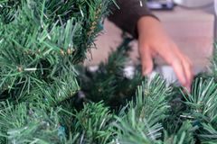 Hands touching the branches of an artificial Christmas tree without ornaments stock images