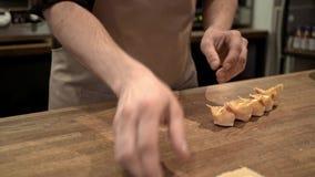 Man making tortellini, a traditional Italian food stock video footage