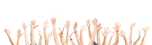 Hands up. A lot of hands. Isolated over white background Royalty Free Stock Photos