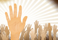 Hands up. Unanimous vote (hands up). Vector illustration Royalty Free Stock Photo