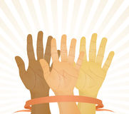 Hands up. Unanimous vote (hands up). Vector illustration Stock Photos