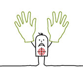 Hands up !. Vector hand-drawn characters on line Stock Images