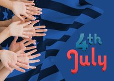 Hands up against blue american flag in background Stock Photography