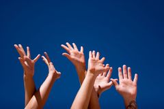 Hands up in the air Royalty Free Stock Photo