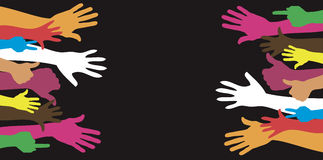 Hands up background and colorful banner Royalty Free Stock Image