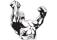 Hands up. Bodybuilder with your hands up Royalty Free Stock Photo