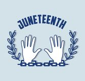 Hands up with branch and chain celebrating freedom. Vector illustration Stock Photography