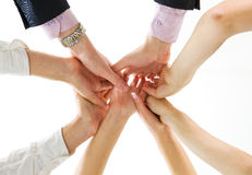 Hands up of business team Stock Image