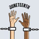 Hands up with chain to celebrate freedom. Vector illustration Royalty Free Stock Photo