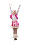 Hands Up Christmass Girl. Studio Shoot Over White Background Stock Photography