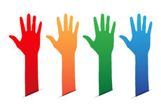 Hands up color blank tag Stock Photo