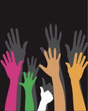 Hands up colorful background Stock Photo