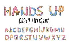 Hands up crazy alphabet. Set of creative letters from A to Z, done with arm gesture, palm, fingers, and thumb in a funny way. Vector flat style cartoon royalty free illustration