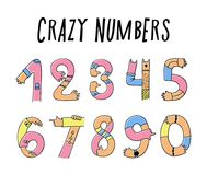 Hands up crazy numbers stock illustration
