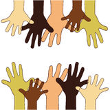 Hands up of different races, colors, nationalities. Royalty Free Stock Image
