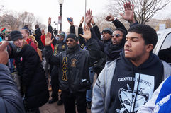 Hands Up Dont Shoot. Photo of protesters downtown at pennsylvania avenue in washington dc on 12/13/14.  These people are raising their hands to protest the Royalty Free Stock Image