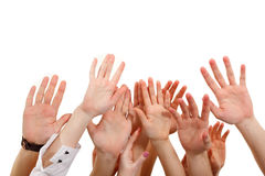 Hands up group people isolated on white Stock Photography
