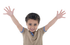 Hands Up Happy Boy Stock Image