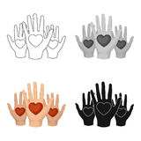 Hands up with hearts icon in cartoon style isolated on white background. Charity and donation symbol stock vector Stock Images