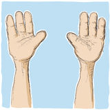 Hands up. An illustration with a lot of hands together upwards Royalty Free Stock Photo