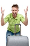 Hands up man with travel suitcase Stock Photography