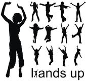Hands up people silhouettes Royalty Free Stock Photos
