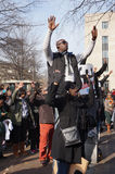 Hands Up. Photo of protesters downtown at pennsylvania avenue in washington dc on 12/13/14.  These people are raising their hands to protest the police shooting Royalty Free Stock Image