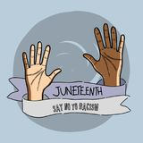 Hands up with ribbon massage to juneteenth celebrate. Vector illustration Stock Photography