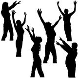 Hands Up Silhouettes 2 Royalty Free Stock Photo