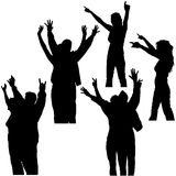 Hands Up Silhouettes 3. High detailed black & white people illustrations Royalty Free Stock Photography