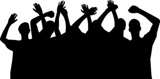 Hands up silhouettes,vector. On white background Stock Photography
