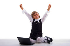 Hands Up Sitting Schoolgirl And Notebook. Royalty Free Stock Images