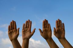 Hands up in the sky Royalty Free Stock Images