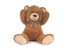 Hands up Teddy Bear. On White Background Royalty Free Stock Photo
