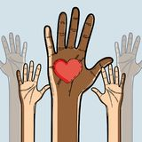 Hands up to celebrate freedom juneteenth. Vector illustration Stock Photography