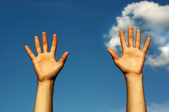 Hands up to the sky. Hands reaching blue sky outdoor Stock Photography