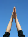 Hands up to sky stock images