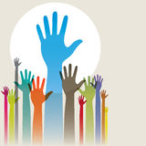 Hands Up. Vector illustration of colorful raised hands Stock Photo
