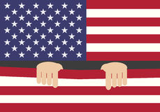 Hands with USA Flag Stock Photo