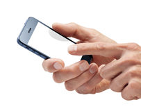 Hands Mobile Cell Phone. A mans hand using a touchscreen cell phone with a blank screen isolated on white