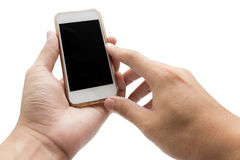 Hands Using Cell Phone holding smart phone in isolated backgroun Stock Image