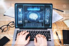 Artificial intelligence and finance concept. Hands using laptop with digital business interface. Artificial intelligence and finance concept Royalty Free Stock Photography