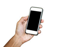 Hands using mobile phone, isolated on white background Royalty Free Stock Photos