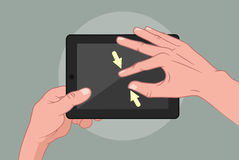 Hands using pad. Vector illustration of mans hand using tablet Royalty Free Stock Photography