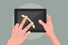Hands using pad. Vector illustration of mans hand using tablet Royalty Free Stock Image