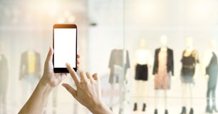 Hands using smart phone for online shopping royalty free stock images