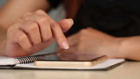 Hands using the smart phone touchscreen stock footage