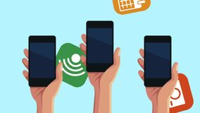Hands using smartphone with menu applications animation. Illustration design stock footage